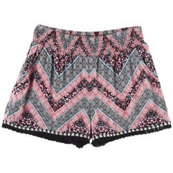 Joe Benbasset Big Girls Chevron Tassel Pull-On Shorts