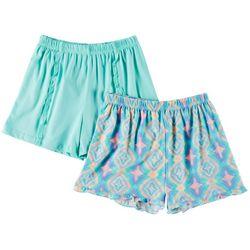 Freestyle Big Girls 2-pk. Scale & Solid Ruffle Shorts