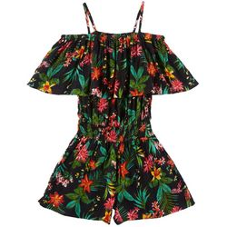 Derek Heart Girl Big Girls Tropical Print Romper