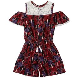 Derek Heart Girl Big Girls Seahorse Coral Print Romper