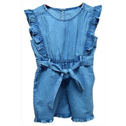 Kensie Girl Big Girls Chambray Ruffle Romper