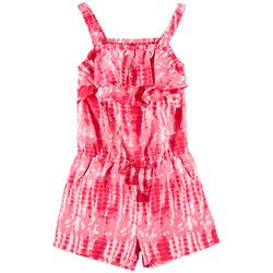Wallflower Big Girls Tie Dye Ruffle Sleeveless Romper