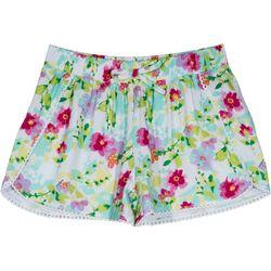 Nautica Big Girls Floral Crochet Trim Shorts