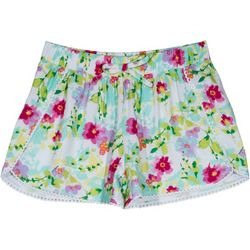 Nautica Big Girls Floral Crochet Trim Shorts