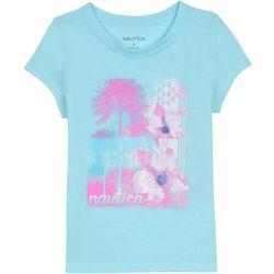 Nautica Big Girls Watercolor Palm Tree T-Shirt