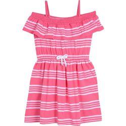 Nautica Big Girls Off The Shoulder Striped Ruffle Dress