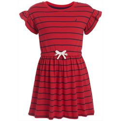 Nautica Big Girls Striped Puff Sleeve T-Shirt Dress