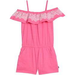Nautica Big Girls Textured Stripe Off Shoulder Romper