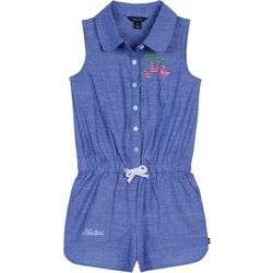 Nautica Big Girls Tropical Embroidered Chambray Romper