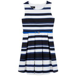 Amy Byer Big Girls Stripe Pleated Belted Dress