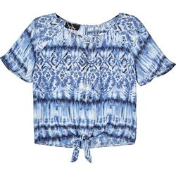 Amy Byer Big Girls Tie Dye Tie Front Short Sleeve Top