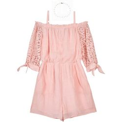 Amy Byer Big Girls Solid Lace Sleeve Cold Shoulder Romper