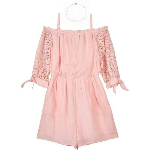 07f289187e0 Amy Byer Big Girls Solid Lace Sleeve Cold Shoulder Romper