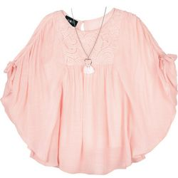 Amy Byer Big Girls Solid Lace Trim Poncho Top