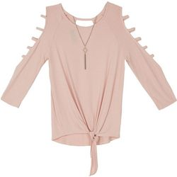 Amy Byer Big Girls Cage Sleeve Top
