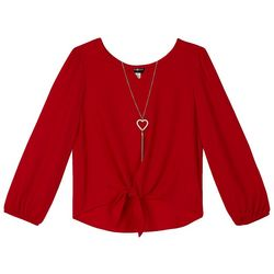 Amy Byer Big Girls Solid Tie Front Long Sleeve Top