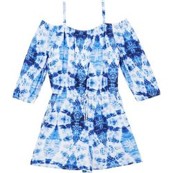 Amy Byer Big Girls Tie Dye Off Shoulder Romper