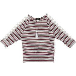 Amy Byer Big Girls Striped Open Sleeve Top