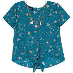 Amy Byer Big Girls Floral Print Tie Front Top