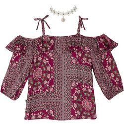 Amy Byer Big Girls Floral Patchwork Off Shoulder Top