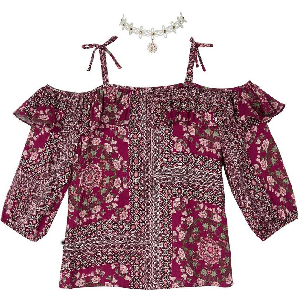 efd9e020e0f Amy Byer Big Girls Floral Patchwork Off Shoulder Top