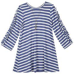Amy Byer Big Girls Striped Ruffle Sleeve Dress