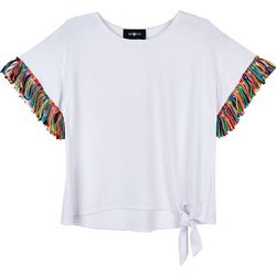 Amy Byer Big Girls Solid Side Tie Tassel Sleeve Top
