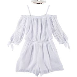 Amy Byer Big Girls 2-pc. Lace Sleeve Cold Shoulder Romper