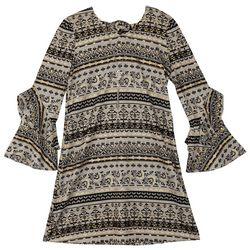 Amy Byer Big Girls Scroll Print Bell Sleeve Dress