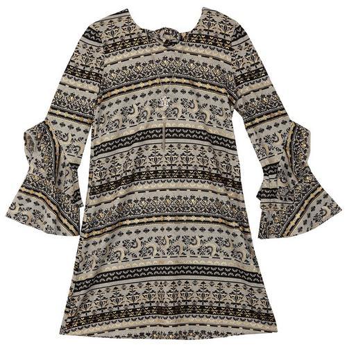 db1e83770431 Amy Byer Big Girls Scroll Print Bell Sleeve Dress