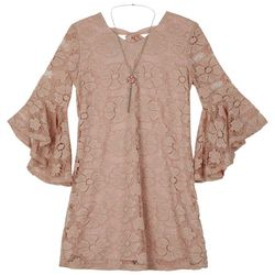 Amy Byer Big Girls Floral Lace Bell Sleeve Dress