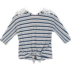 Amy Byer Big Girls Striped Tie Front Lace Detail Top