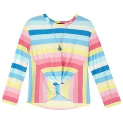 Amy Byer Big Girls Striped Knot Front Top