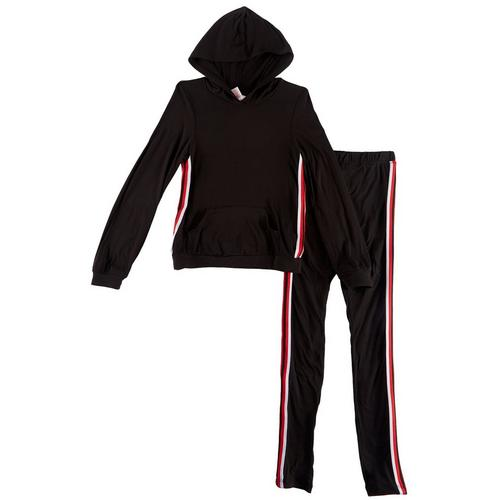 1st Kiss delivers fun and fashionable apparel! Hooded jacket features a solid design, contrast sports striping, a kangaroo pocket, and banded hems. Set includes a coordinating pair of solid pull-on pants with contrast sports striping and an elastic waist.