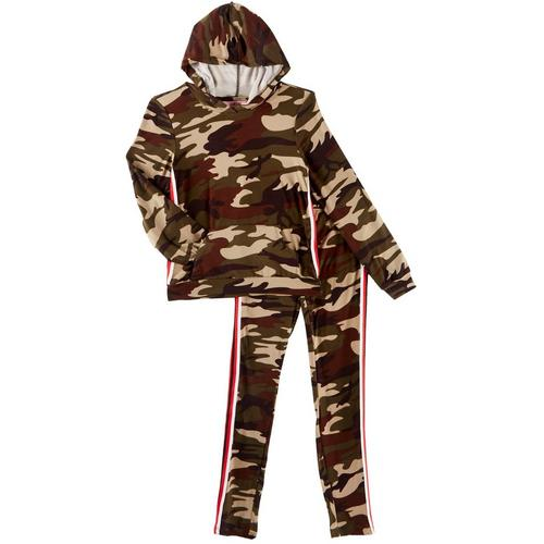 1st Kiss delivers fun and fashionable apparel! Hooded jacket features camouflage print, contrast sports striping, a kangaroo pocket, and banded hems. Set includes a coordinating pair of camouflage pull-on pants with contrast sports striping and an elastic waist.