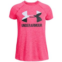Under Armour Big Girls Novelty Big Logo Heather Crew T-Shirt