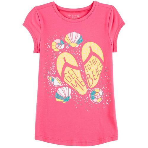 69a4efea794755 Reel Legends Big Girls Get Me To The Beach Sandals T-Shirt
