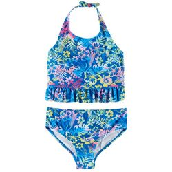 Reel Legends Big Girls Tropical Print Tankini Swimsuit