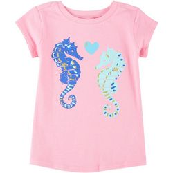 Reel Legends Little Girls Short Sleeve Seahorses T-Shirt