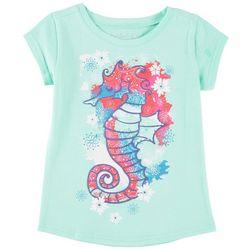 Reel Legends Little Girls Splatter Seahorse T-Shirt