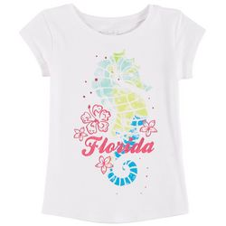 Reel Legends Little Girls Florida Tropical Seahorse T-Shirt