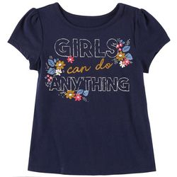 Kidtopia Little Girls Floral Girls Can Do Anything T-Shirt
