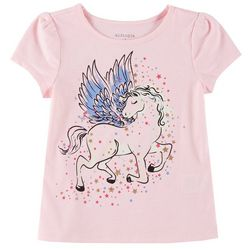 Kidtopia Little Girls Glitter Unicorn & Stars T-Shirt