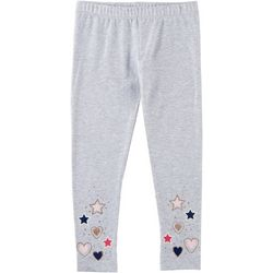 Kidtopia Little Girls Glitter Star Heart Pull-On Leggings