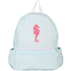 Nikiani Girls Seersucker Seaside Seahorse Backpack