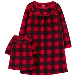 Carters Toddler Girls Plaid Doll & Pajama Nightgown