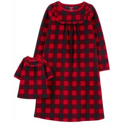 Carters Little Girls Plaid Doll & Pajama Nightgown