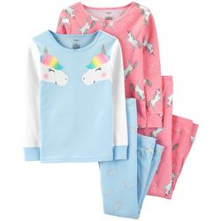 Carters Little Girls 4-pc. Rainbow Unicorn Sleepwear Set
