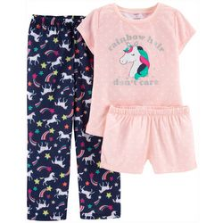Carters Big Girls 3-pc. Rainbow Hair Don't Care Pajama Set