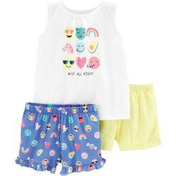 Carters Big Girls 3-pc. #Up All Night Pajama Shorts Set